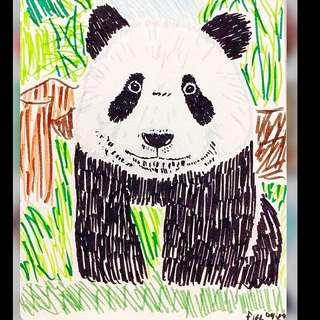 """Kawaii"" The Panda Art Print"