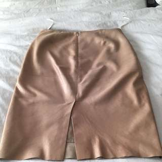 CHAIKEN Metallic Gold Leather Skirt