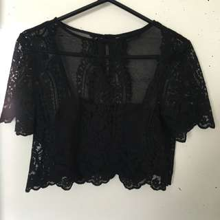 Miss Selfridge Lace Crop