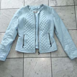 Pale Blue Leather Jacket Size 10