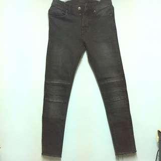 ZARA skinny fit窄版褲管不收邊機車牛仔褲