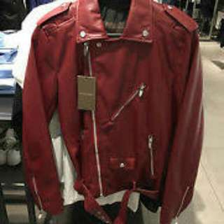 Zara Man Maroon Faux Leather Jacket