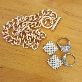 Necklace,  Two Rings And Earrings All Together