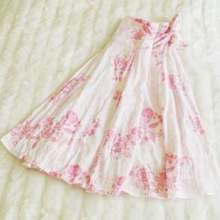 *Pending* Pretty Skirt White And Pink Floral Midi Skirt Tie Up On Side Size Small