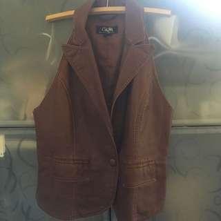Tan Vinyl Leather look-a-like Vest