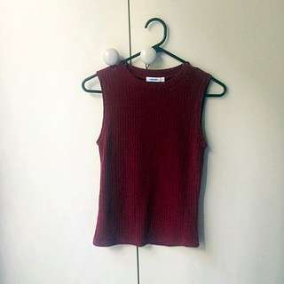 Valleygirl High Neck Ribbed Top