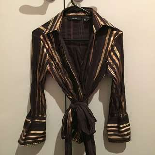 Zara Brown Metallic Gold Striped Shirt (Size L)