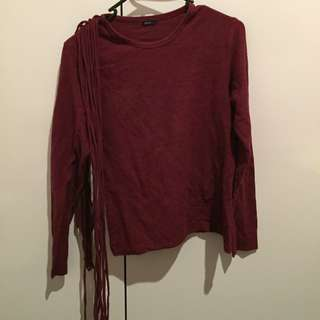 Mhposis Maroon Longsleeve With Frills (Size L)