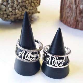 訂製純銀 - 特色文字戒指