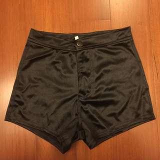 緞面黑色高腰褲