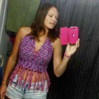Purple/pink Crochet Halter Top