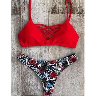 Red Spaghetti Straps Bikini Set
