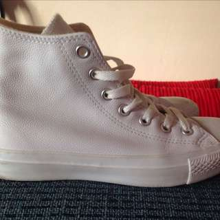White Converse Leather