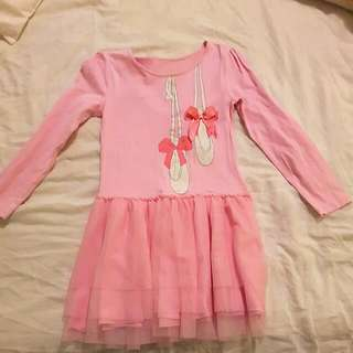 Pink Dress With Ballerina Shoes For Girls 7-8 Years Old