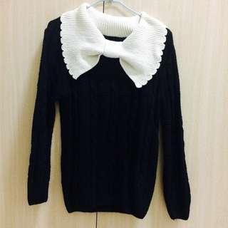 黑色蝴蝶結領毛衣