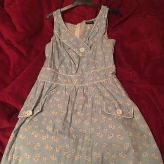 Retro Blue Daisy Dress XL