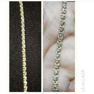 🍀Yellow Gold Tennis Bracelet With Diamond Setting