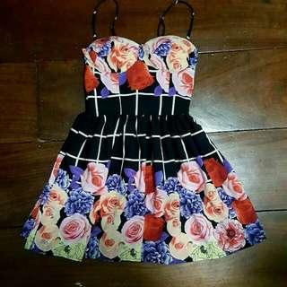 Black Floral Bustier Dress