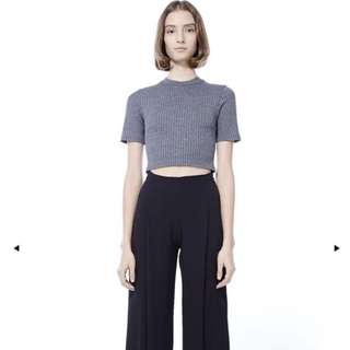 TEM grey dore ribbed crop top