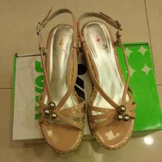 粉桃色~楔形涼鞋