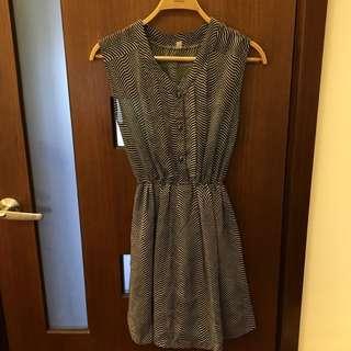 藍白線條古著洋裝