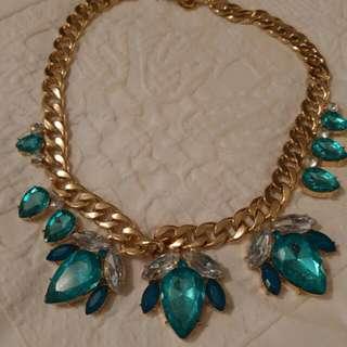 Beautiful Aqua And Gold Necklace