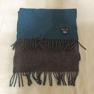 Agnes B 羊毛流蘇圍巾