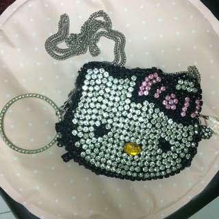 全新 Hello Kitty 水鑽肩背/手拿包