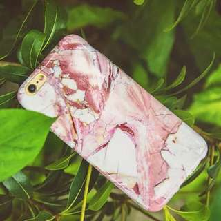粉色大理石花紋手機殼