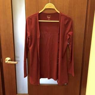 Lativ酒紅色薄外套