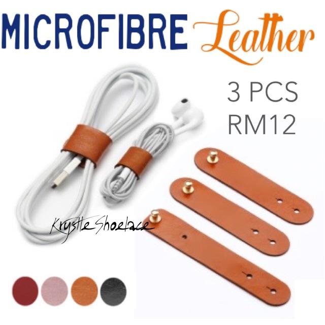3pcs Cable Tie Genuine Microfibre Leather
