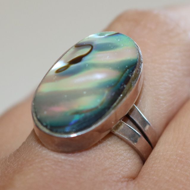 Genuine 950 Silver Opal Ring