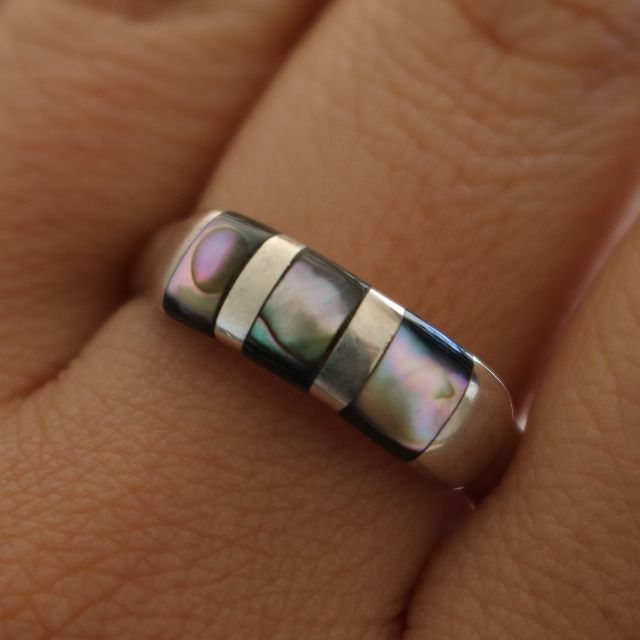 Genuine 950 Silver Ring Natural Stone - 2012