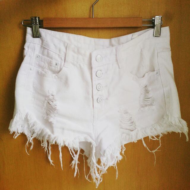 超顯瘦-刷破牛仔白短褲