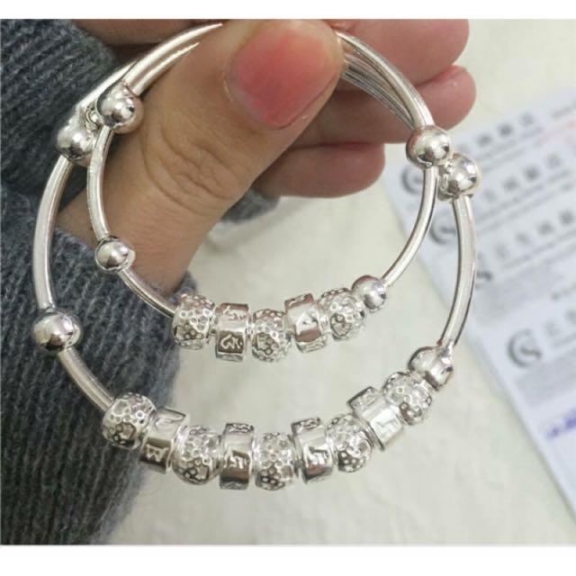 香港正生銀梵文親子手環