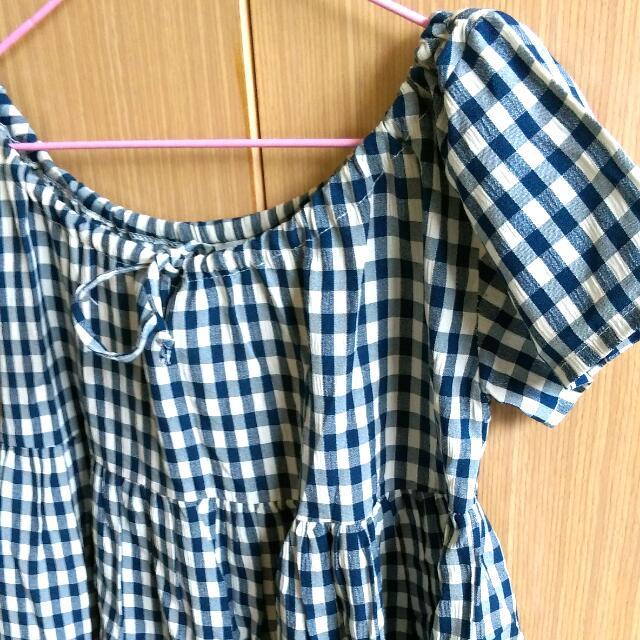 藍白格 娃娃裝/洋裝