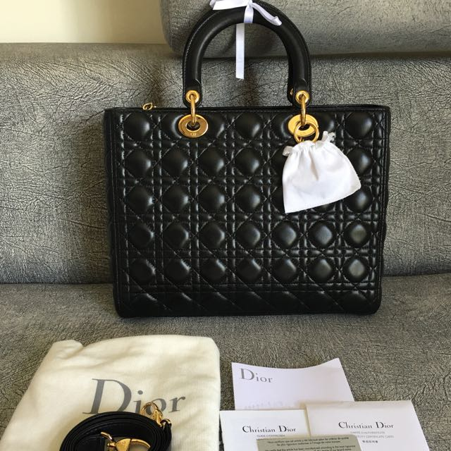 SOLD! Full Set With Receipt💎Almost New Dior Lady Dior Large Black ... 9aea048f2ca01