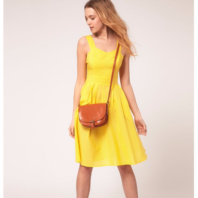333397070d ASOS PETITE Midi Dress With Tie Back - Yellow