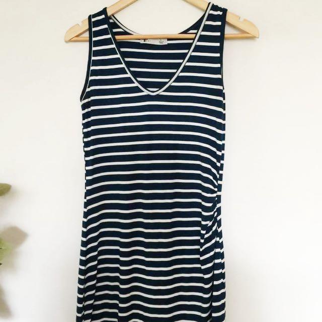 Asymmetrical Midi Dress Blue White Stripe V-Neck Valley Girl Size Small To Medium