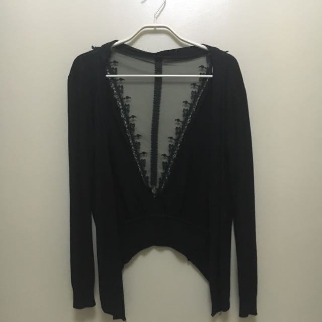Black Cardigan-Cotton