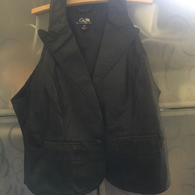 Black Leather Look-a-like Vest
