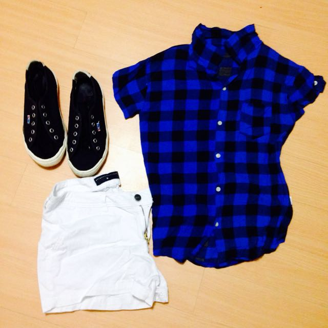 Blue Checkered Blouse