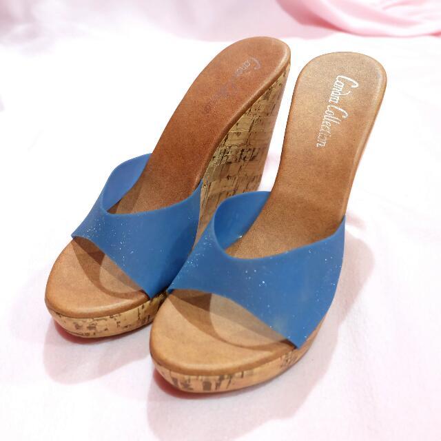 Blue glitter wedges heels