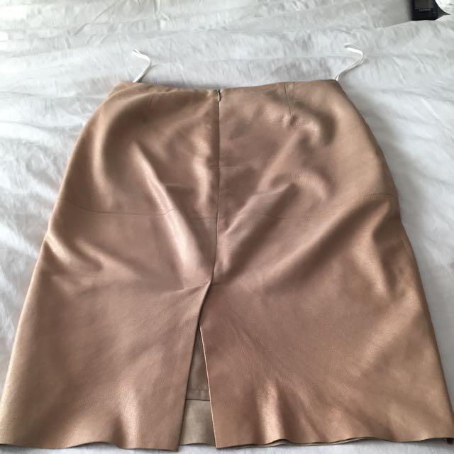 CHAIKEN Metallic Gold Leather Skirt