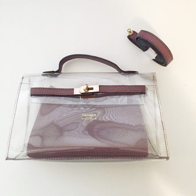 f981d6dd9e8 Hermes Inspired Transparent Bag, Women's Fashion, Bags & Wallets on  Carousell