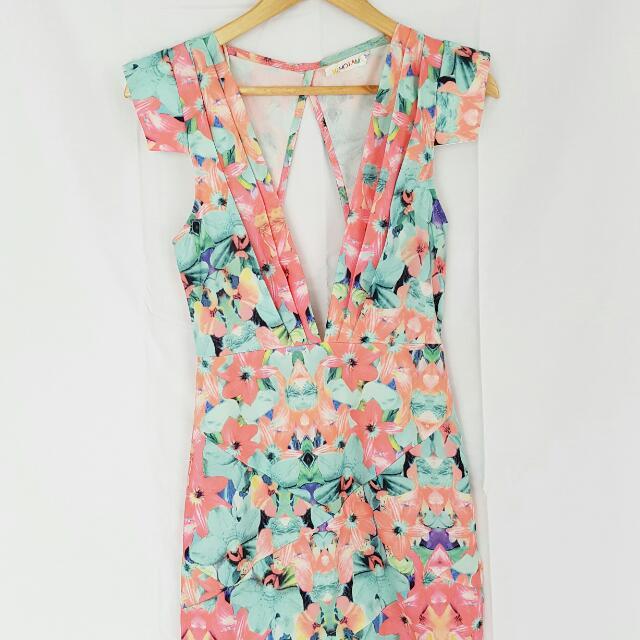 Low Cut Floral Dress