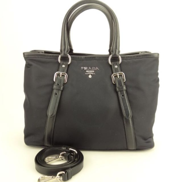 8301a7ff2f0c M-19467 (NEW) Prada BN2832 Tessuto Soft Tote Bag (Navy Blue ...