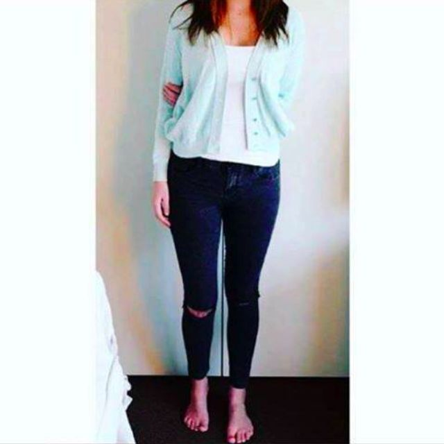 Mint green vintage cardigan, made in NZ