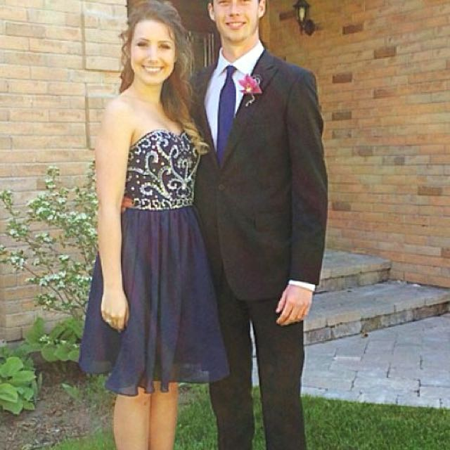 Navy Blue Short Prom Or Grad Dress