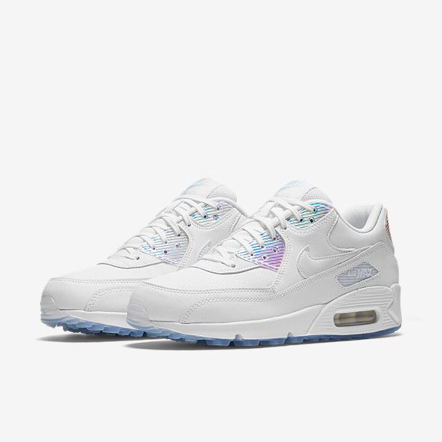 best website bc8c1 9c92f Nike Air Max 90 Premium (Women) - White Holographic, Women s Fashion, Shoes  on Carousell